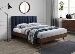 1p Queen Size Bed Bedroom Furniture Soft Navy Color Fabric Wood Legs W/gold Caps