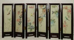 Antique Chinese Six Panel Folding Miniature Screen Silk Songbirds And Mountains
