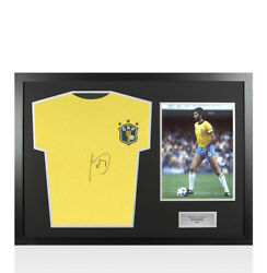Framed Socrates Signed Retro Brazil Shirt - Panoramic Autograph Jersey