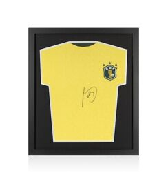 Framed Socrates Signed Retro Brazil Shirt - Compact Autograph Jersey