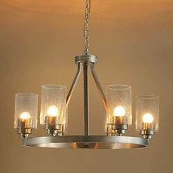 6 Light Contemporary Chandelier Large Brushed Nickel Dining Room Fixtures
