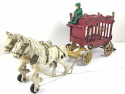 1920s Cast Iron Overland Circus Bear Cage Wagon Toy By Kenton In Original Paint