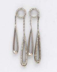 Modern Fashion Style Long Tear Drop Micro Pave Set Cz In 925 Real Silver Earring