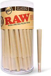 Raw Cones Classic 1 1/4 Size   150 Pack   Natural Pre Rolled Rolling Paper