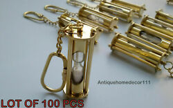Sand Timer Key Chain Lot Of 100 Piece Antique Collectible Nautical Solid Brass