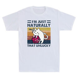 Cat Hug Dungeon With Knife Iand039m Just Naturally That Unlucky Vintage Menand039s T Shirt