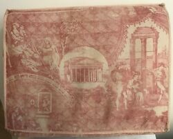 Antique Toile Du Jouy Chair Seat Cover 19th Century
