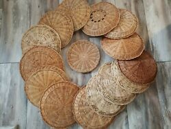 Vintage Paper Plate Holders Wicker Bamboo Rattan Lot Of 15 Retro Picnic Brown