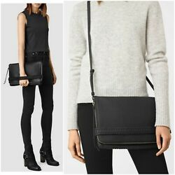 ALL SAINTS Club Large Clutch Crossbody Black Leather Convertible Fold Over Bag $59.95
