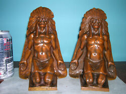 Rare Antique Indian Chief Native American Western Bronze Bookends, 6 Lbs, 1920s