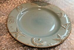 S/4 Thomson Pottery Cape Cod Rustic Blue Embossed Shell Salad Plates New / Nos