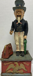 Vintage Used Uncle Sam Coin Money Bank Mechanical Cast Iron Toy