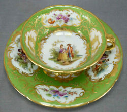 Klemm Dresden Hand Painted Watteau Scene Green And Raised Gold Tea Cup And Saucer A