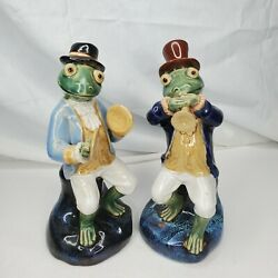 Vintage Porcelain Frog Jazz Musician Figurines Cymbals And Trumpet