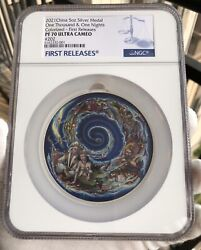 Ngc Pf70 2021 The One Thousand And One Nights Aladdin Silver Medal 5oz Colorized