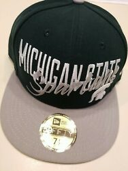 Michigan State Spartans New Era 59fifty Sample Script Fitted Hat Green 7 1/2