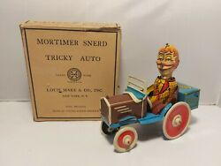 Mortimer Snerd Drives Tricky Auto, Original Box Louis Marx And Co 1939 Tin Toy