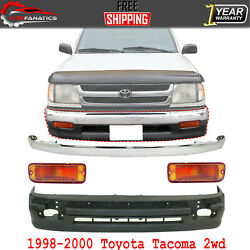 Front Bumper Chrome + Lower Cover + Signal Light For 1998-2000 Toyota Tacoma 2wd