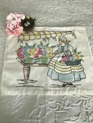 Gorgeous 1930s Vogart Embroidered French Girl And Flower Cart Vintage Pillow Cover