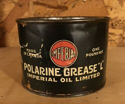 Vintage 1920's Imperial Polarine Grease L 1 Lb. Can - Imperial Oil Limited