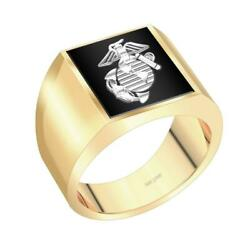 Us Jewels Men's 14k Yellow And White Gold Solid Back Us Marine Corps Ring