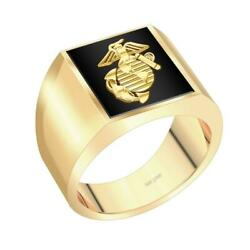 Us Jewels Customizable Menand039s 14k Yellow Gold Solid Back Us Marine Corps Ring
