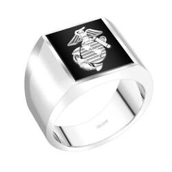 Us Jewels Menand039s 0.925 Sterling Silver Solid Back Us Marine Corps Usmc Ring