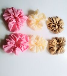 6 Pc Scrunchies Pink Beige And Brown Scrunchies Hair Accessories For Womenandnbsp