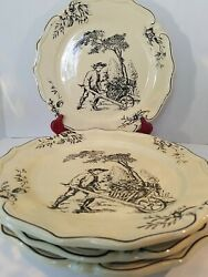 Vintage 4 Large 11 Maxcera Plates. Rare Navy Blue And Pale Yellow