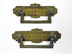 Two Matching Antique Victorian Brass Ornate Drawer Pulls As Found 1890and039s