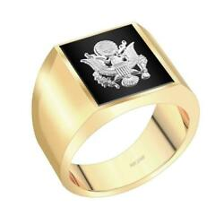 Us Jewels Customizable Men's 14k Yellow And White Gold Solid Back Us Army Ring
