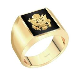 Us Jewels Customizable Men's 14k Yellow Gold Solid Back Us Army Ring