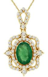 .95ct Diamond And Aaa Emerald 14k Yellow Gold Round And Oval Square Floating Pendant