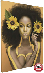 African American Wall Art Black Girl With Sunflower Painting Artwork Canvas Wall