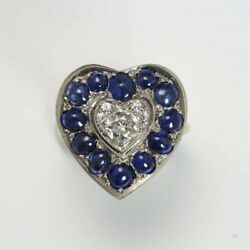 Vintage 1920and039s 14k Gold And Platinum Heart Ring W/ Diamonds Blue Sapphires Sz 6.5
