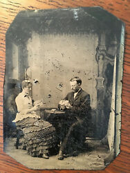 Antique Vintage 1800s Victorian Gambling Playing Cards Tintype Photograph