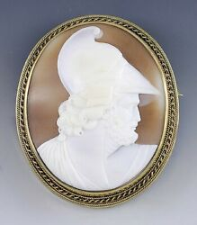 C1875 14k Gold Carved Warrior Head Shell Cameo Heavy Mounting Ajax