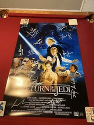 Cast Signed Star Wars Movie Poster Return Of The Jedi Poster Mark Hamill ++🔥