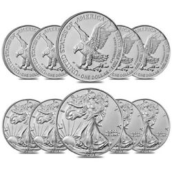 Lot Of 10 - 2021 1 Oz Silver American Eagle 1 Coin Bu Type 2