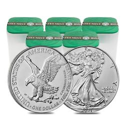 Lot Of 100 - 2021 1 Oz Silver American Eagle 1 Coin Bu Type 2 5 Roll Tube Of