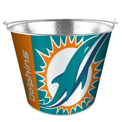 Nfl Miami Dolphins 5 Quart Metal Bucket Hype Pail Bbq Drinks Party