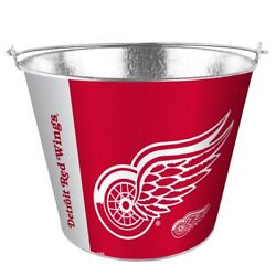 Nhl Detroit Red Wings 5 Quart Metal Bucket Hype Pail Bbq Drinks Party Game