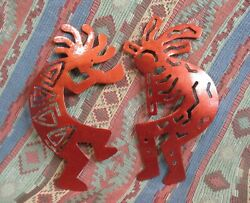 Pair Of Metal Kokopelli Southwest Wall Decor Copper Color 10 Inches Tall