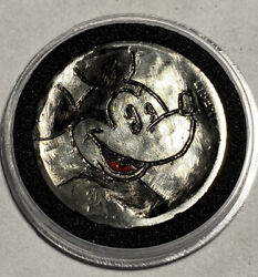 Hand Carved Engraved Hobo Nickel Coin 1920 Mickey Mouse $12.75