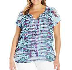 Unity By One World Blue Embroidered Short Sleeve Woven Lined Peasant Top Sz 1x