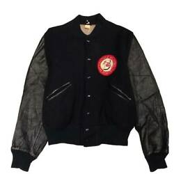 Rare Fire Dept Vintage 60s Butwin Batwin Melton Sleeve Leather Stajan Made In