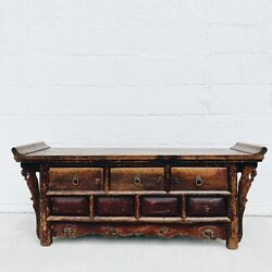 Antique Chinese Alter Table Low 19th Century 3 Drawer