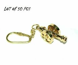 Key Chain Vintage Brass Ship Cannon Key Chain Key Ring Nautical Lot Of 50 Piece