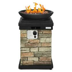 40,000 Btu Patio Propane Burning Fire Bowl Rustic Style With Lava Rocks And Cover