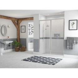 Coastal Alcove Shower Door 43.5 In. W X 66 In. H Framed Clear Glass Pivot Chrome